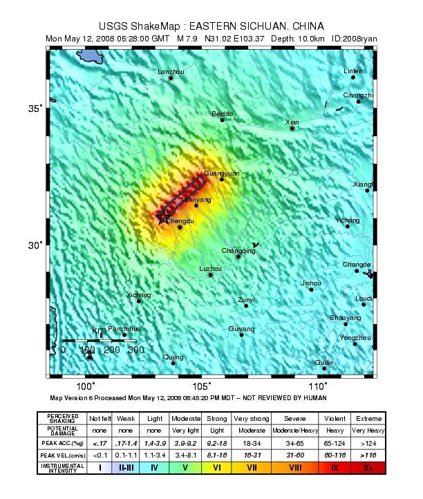 Mapa del Terremoto en China: al menos 10 mil muertos